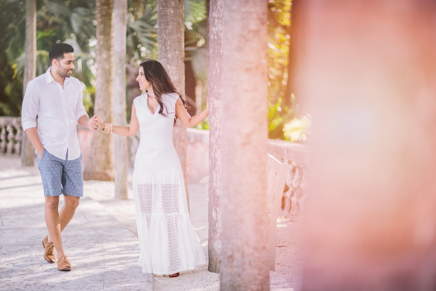 film engagement session at Vizcaya Museum and Gardens